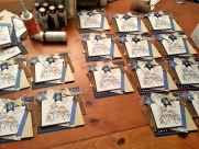 Cards laid out waiting for snow paint and crystal laquer.