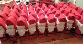 Santas dressed and waiting for the finishing touches.