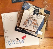 My envelopes were each decorated too with puffy paint snowflakes and hand written words.
